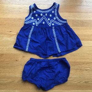 Old Navy Embroidered Top & Bloomers Set